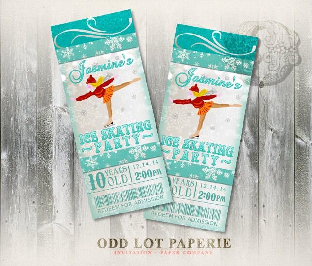 Ice Skating Invitation Birthday Party Invitation Ticket - ticket invitation