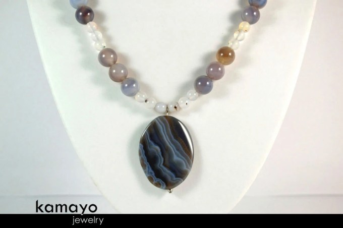 GREY AGATE NECKLACE - Mat...