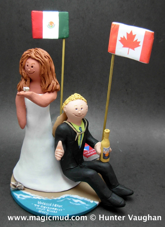 mexican bride canadian groom wedding wedding ring cake topper Mexican Bride Canadian Groom Wedding Cake Topper CakeTopper with Big Wedding Ring Giant Wedding Ring Caketopper Bling Wedding CakeTopper
