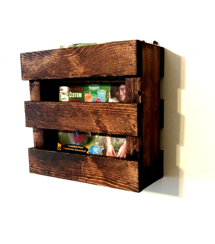 Wall Mounted Rustic Wood Magazine Rack Menu Holder Resturaunt