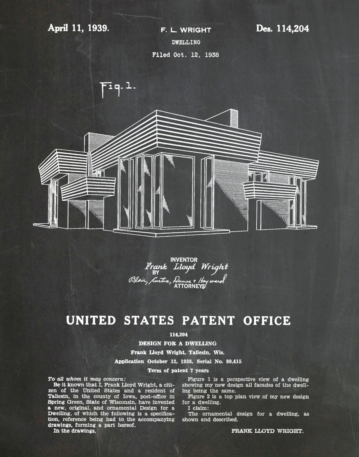 Frank Lloyd Wright Prints Framed Patent 1939 Frank Lloyd Wright House Architecture