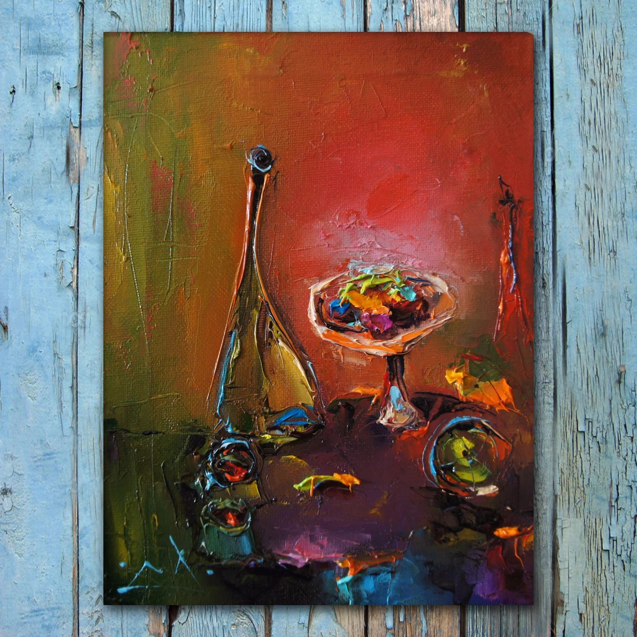 Schilderij In De Keuken Palette Knife Still Life Flowers Painting Oil On Canvas