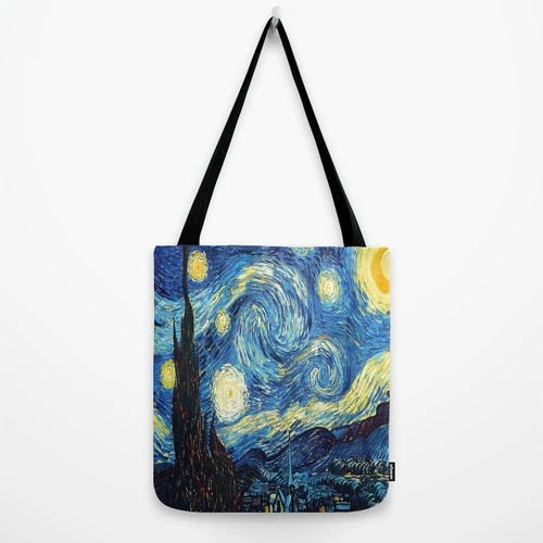 Night Bag Starry Night Bag Van Gogh Tote Bag Impressionism Bag Printed