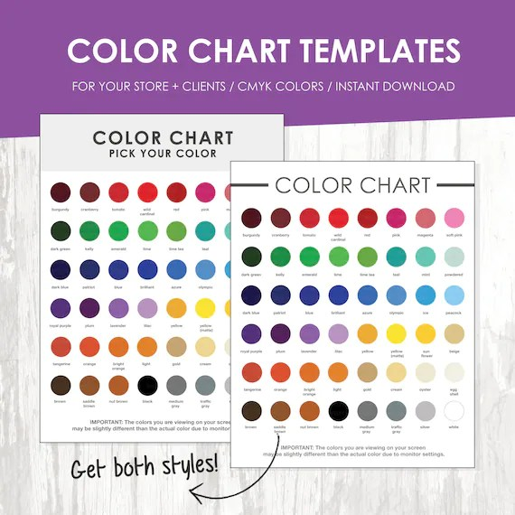 General Color Chart Template kicksneakers - sample cmyk color chart