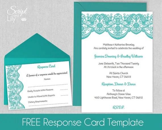 Printable Lace Invitation Template FREE Response Cards - pages invitation templates free