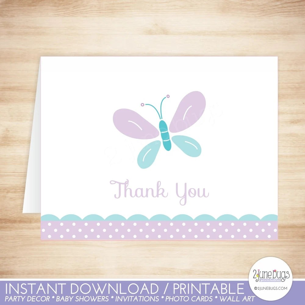 Butterfly Thank You Card Template - Butterfly Folded Thank You Card - butterfly thank you cards