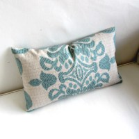 aqua blue on gray grid Lumbar Pillow 12x20 decorative throw
