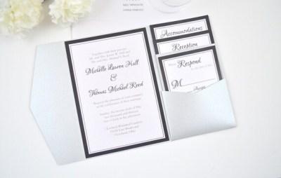 FREE Envelope Addressing Silver and Black Wedding Invitation