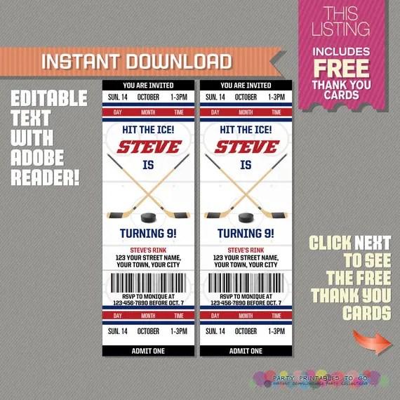 Ice Hockey Ticket Invitation with FREE Thank you Card Ice - ticket invitation
