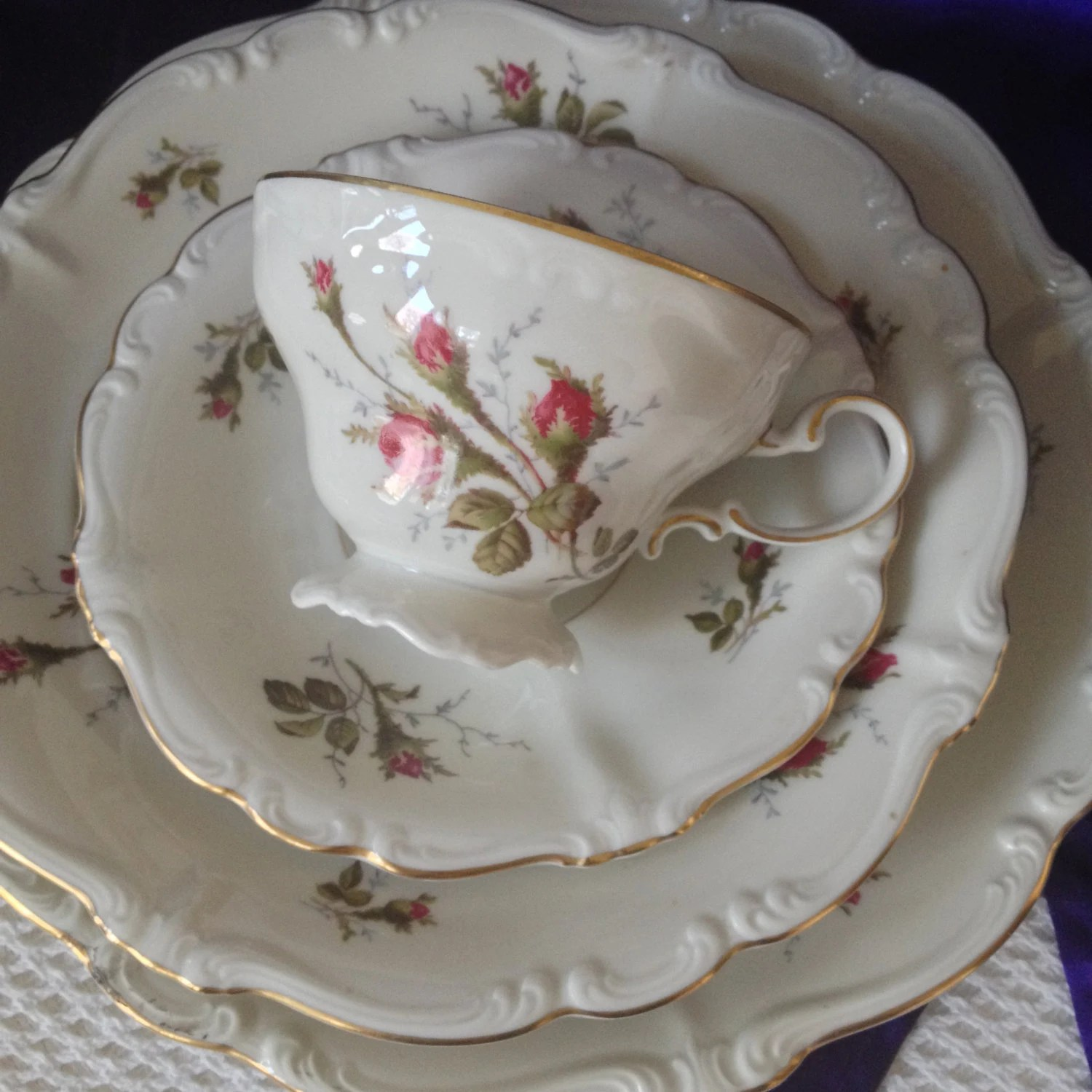 Bone China Porzellan Rosenthal Moss Rose 4 Piece Place Setting With Teacup