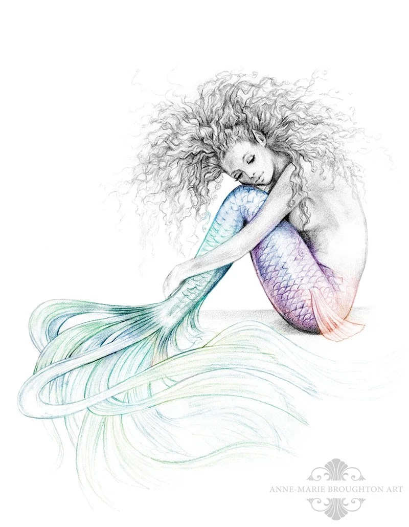 Cute Wallpapers Girls Animated 8x10 Inch Print Tranquil Mermaid Colour Splash Rainbow Tail