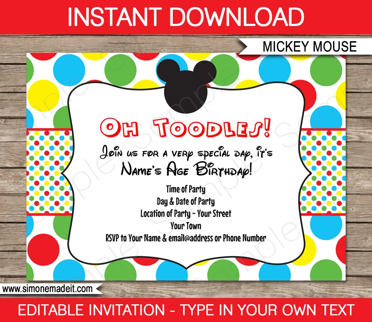 Mickey Mouse Invitation Template - Birthday Party - INSTANT DOWNLOAD