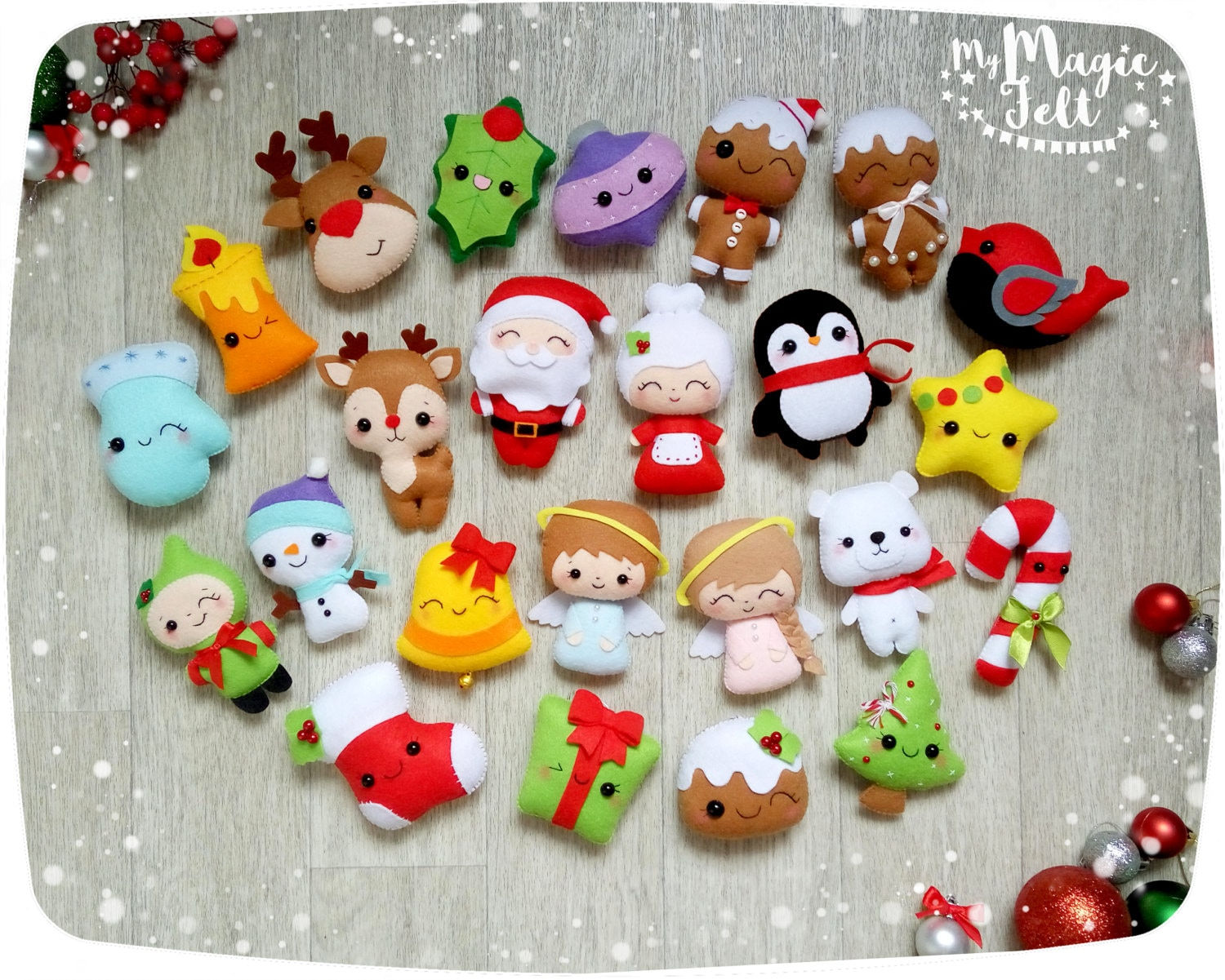 Christmas ornaments felt ornament christmas felt decor big set cute christmas favors christmas tree ornaments gift