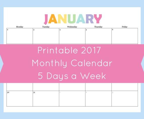 one week calendar printable