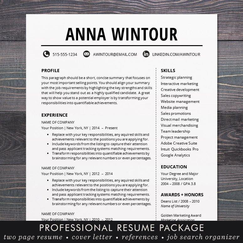 modern resume template cv template anna tucker