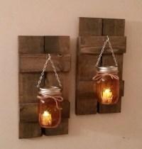 Mason Jar Wall Sconce - Mason Jar Lantern on Wood Shutter ...