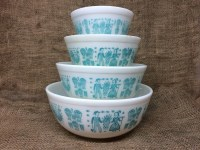 FULL SET Vintage Pyrex Amish Butterprint Mixing Bowl Set