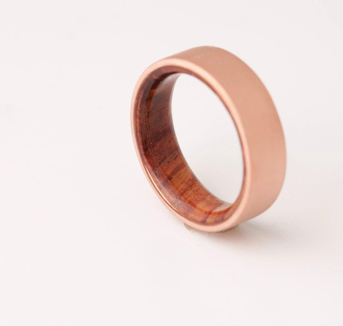 mens wedding ring man wedding ring Copper Wedding Band Copper Wood Ring Cocobolo Ring Man Ring mens wood wedding band