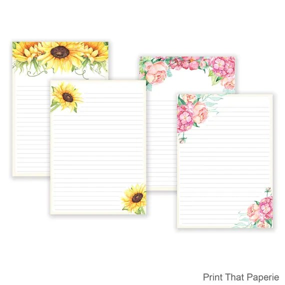 Floral Printable Writing Paper - Stationary Paper - Flower Letter - print writing paper
