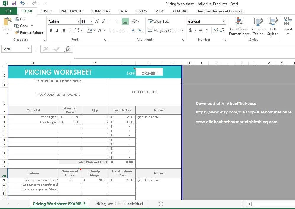 Pricing Calculator shop management Tool Etsy Sellers handmade