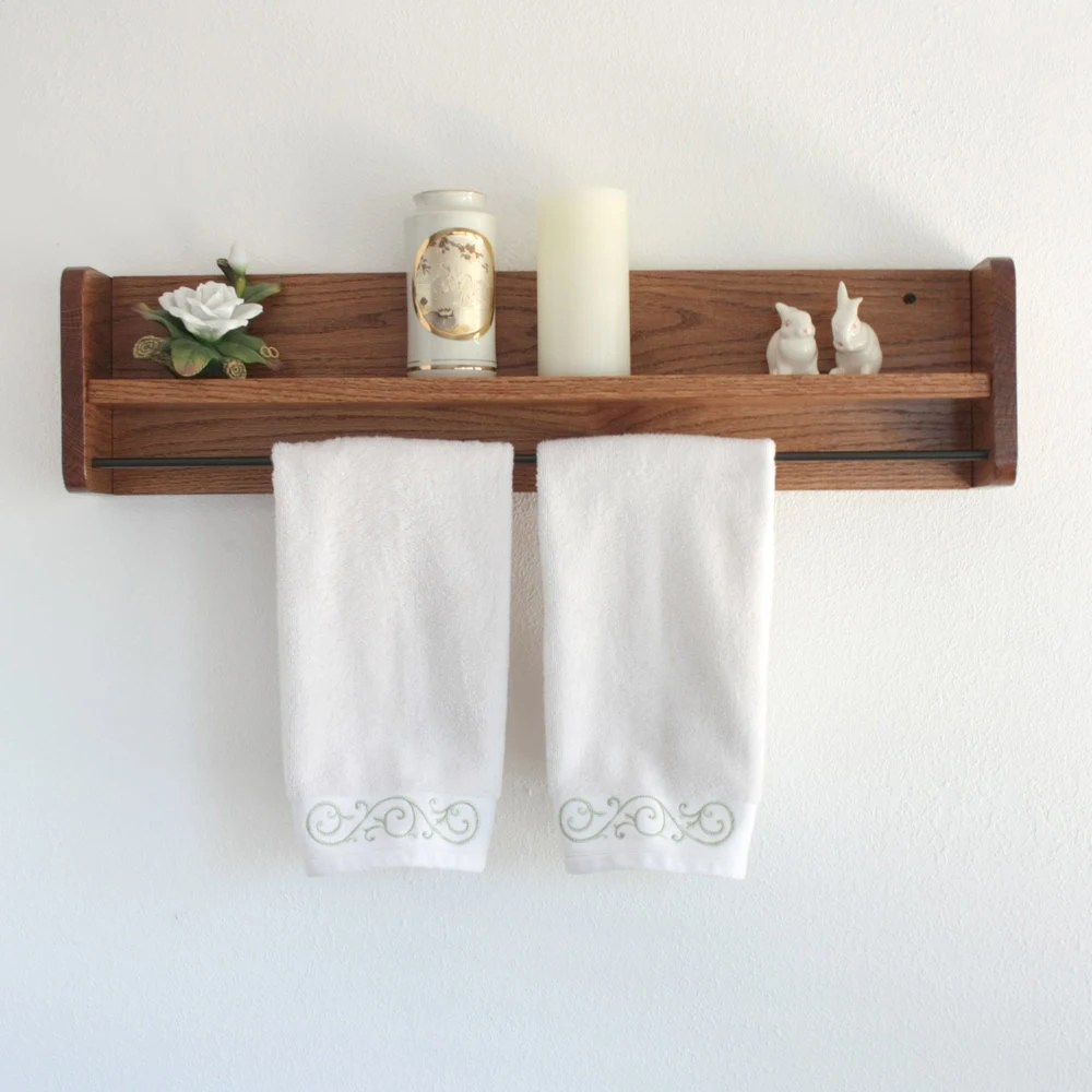 Holz Handtuchhalter Wood Towel Rack With Shelf & Towel Bar Solid Oak Wooden
