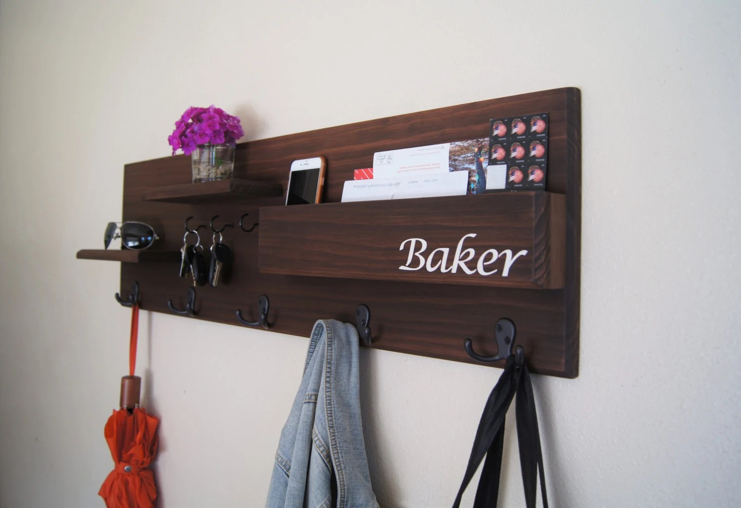 Coat Rack Wall Mounted With Mail Storage Coat By