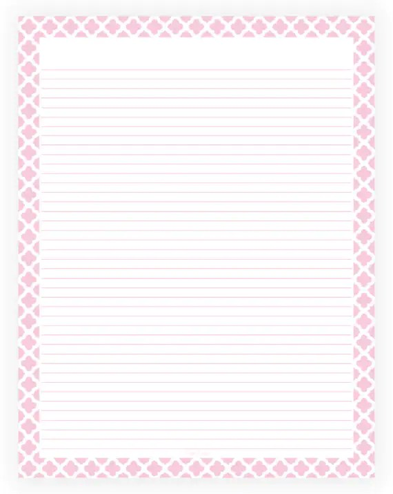 Editable Lined Paper Pink and White Quatrefoil Instant - lined paper pdf