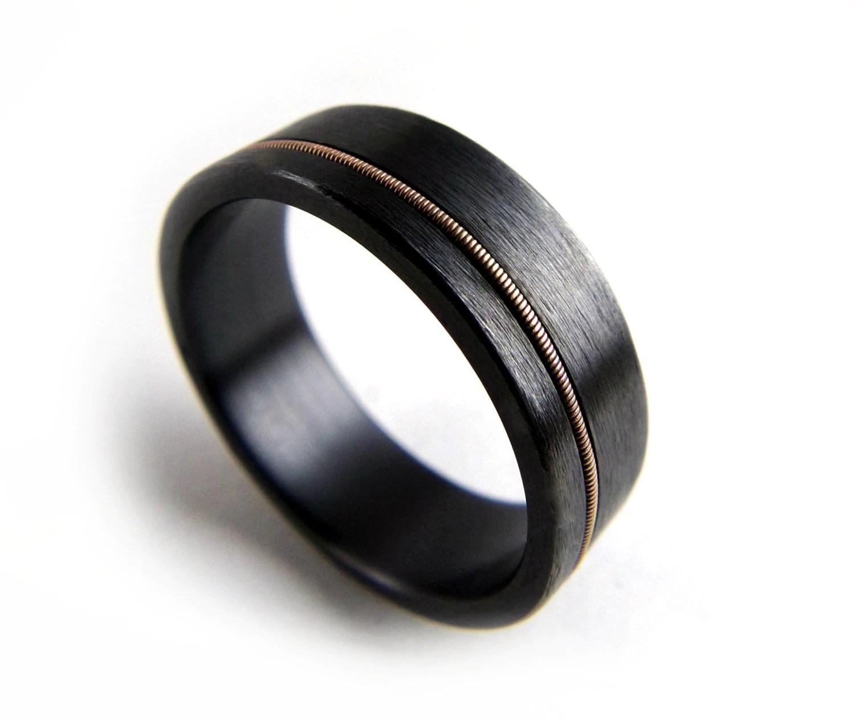 black zirconium ring black mens wedding rings Black Zirconium Ring Guitar String Ring Black Metal Ring Guitar String Jewelry Black Ring Men Black Ring Women Wedding Ring Black Band