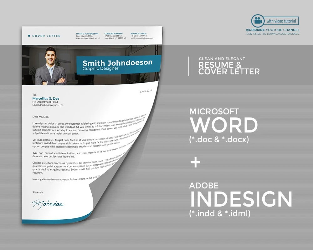gridride - Professional Resume Template Creative Modern InDesign
