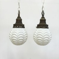 Vintage Swag Lamp / Pendant Light White Glass Plug In Set of