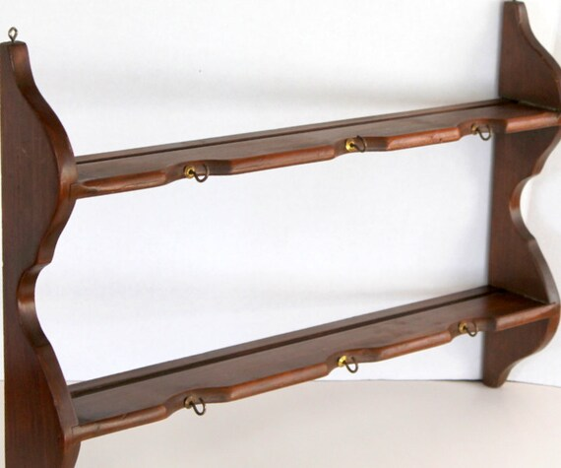 Wood Plate Rails Nice Solid Wood Three Tier Wall Shelf