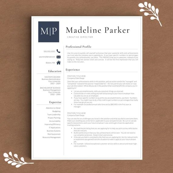 resume cv template pages
