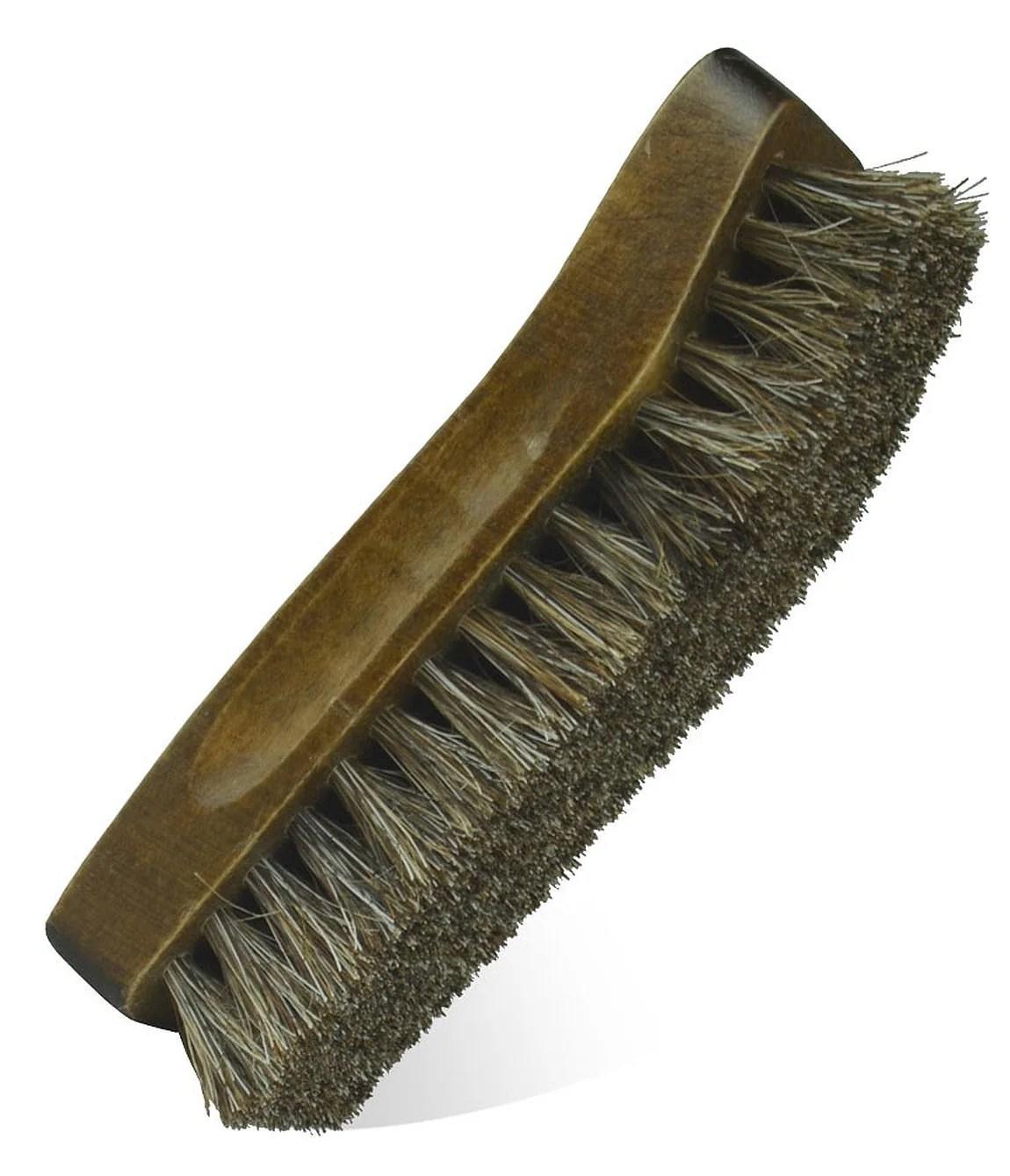 Small Boot Shoe Shine Brush 100 Brown Horsehair Bristles