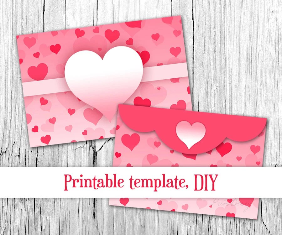 Pink heart envelope Valentine envelope template 4x6 Envelopes - 4x6 envelope template