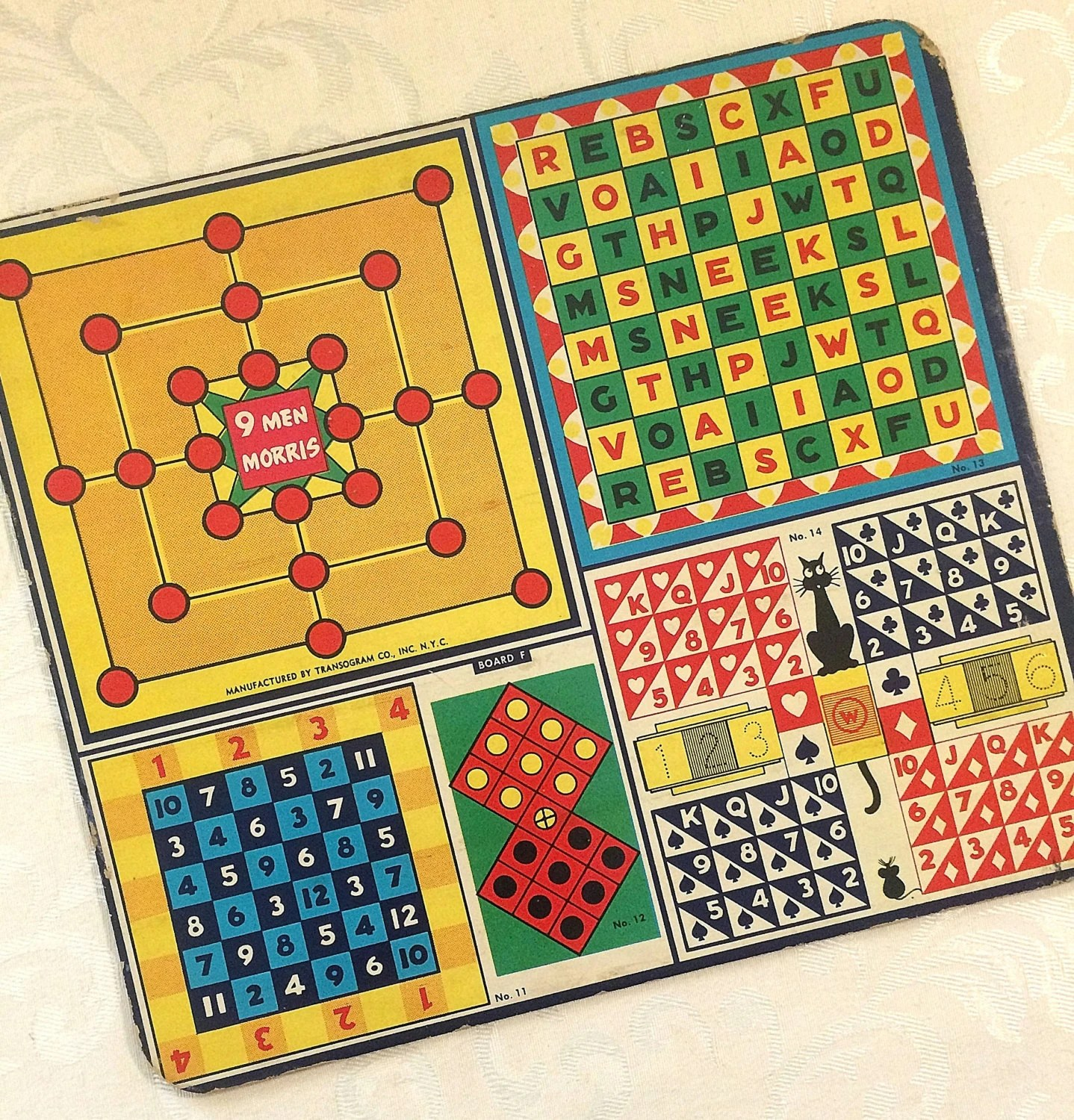 Decorative Game Boards Decorative Vintage Small Game Board Colorful Graphics 1940s