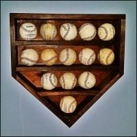 Wood home plate baseball holder