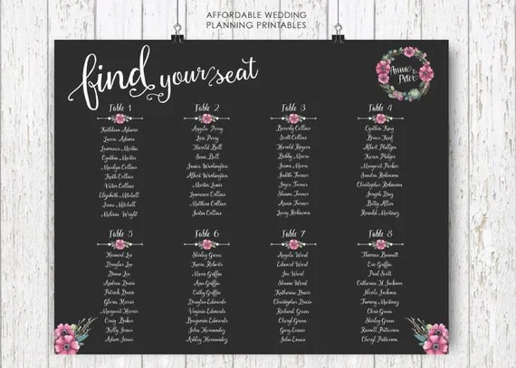 wedding seating plan, seating arrangements, DIY wedding, Seating - seating charts for weddings