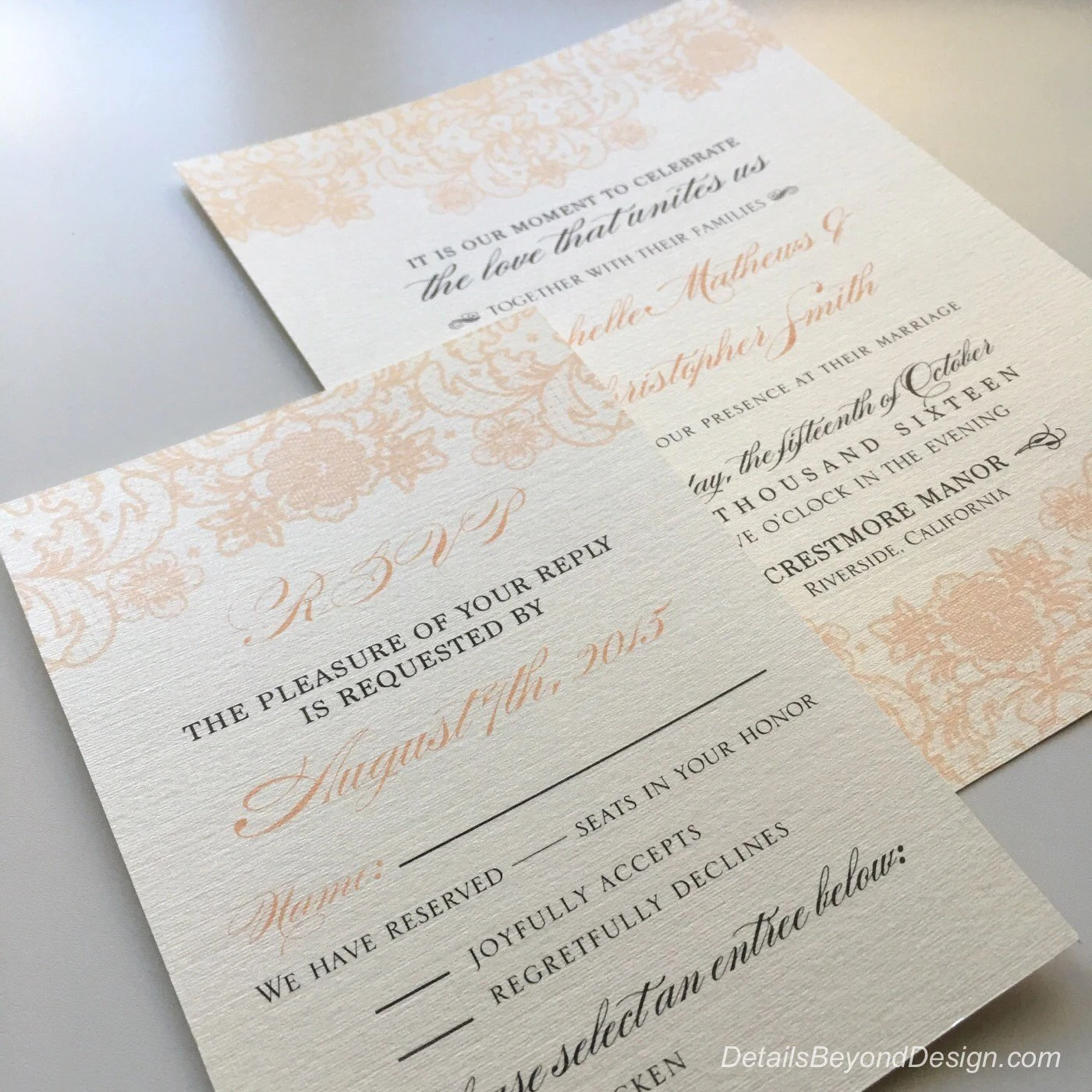 Coral Lace Wedding Invitations  RSVP cards printed on Cream Linen