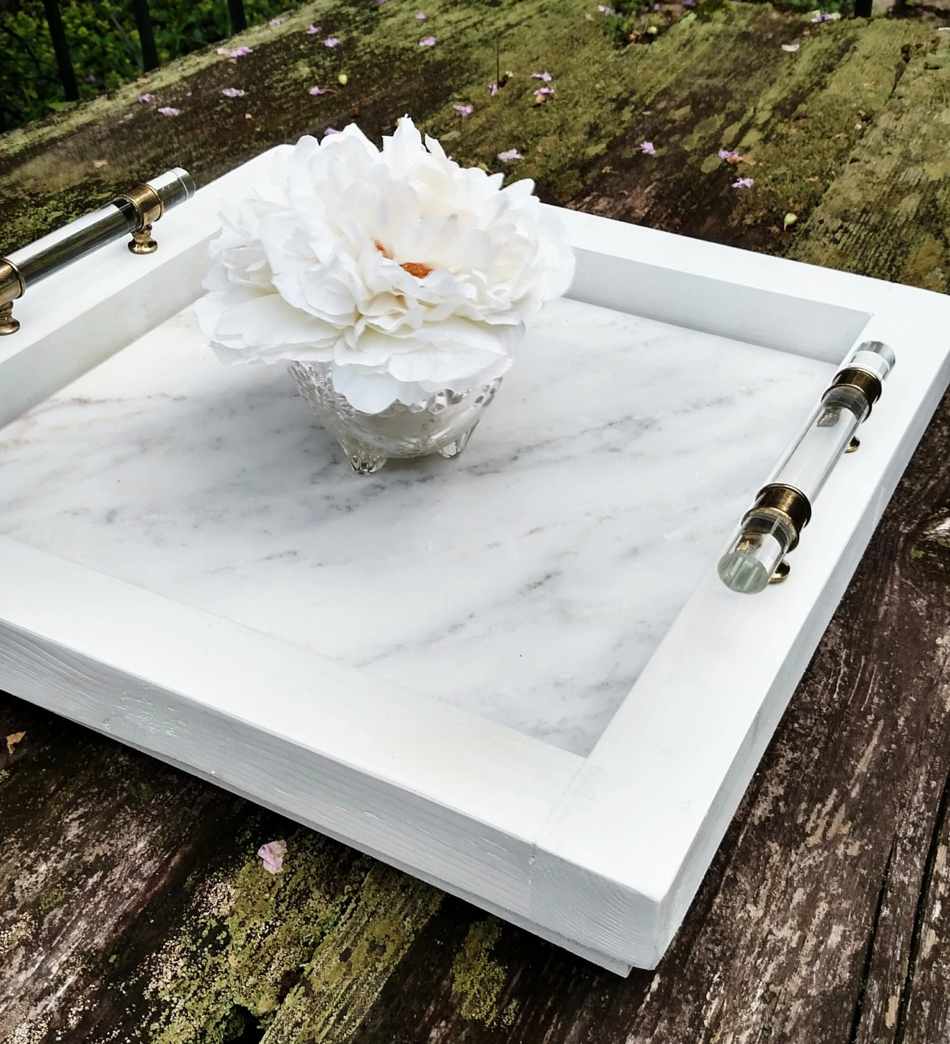 Serviertablett Klein Serving Tray-small Wood And White Marble-handmade-white