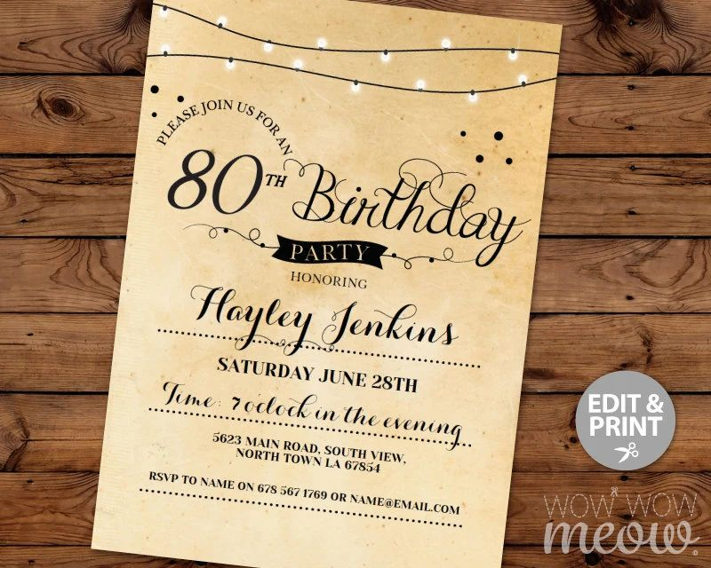 80th party invitations