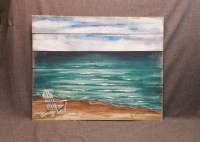 Wood Pallet beach wall Art BEACH Hand painted Seascape