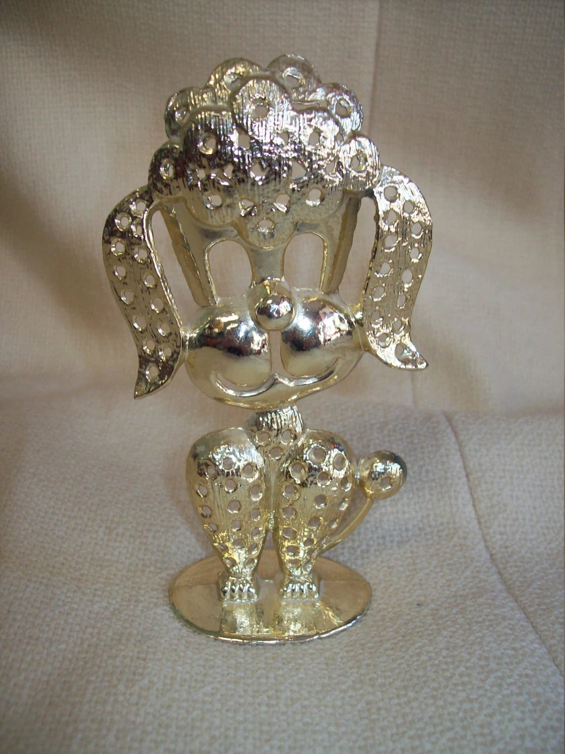 Super Cute Vintage 50s 60s French Poodle Metal Earring Holder