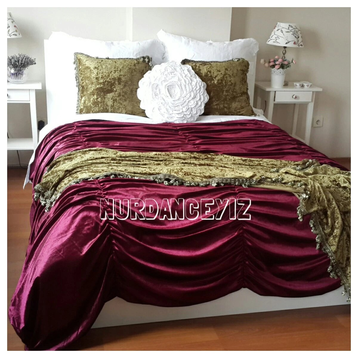 Bohemian Bettwäsche Luxury Ruched Velvet Bedding Duvet Cover Waterfall Bohemian