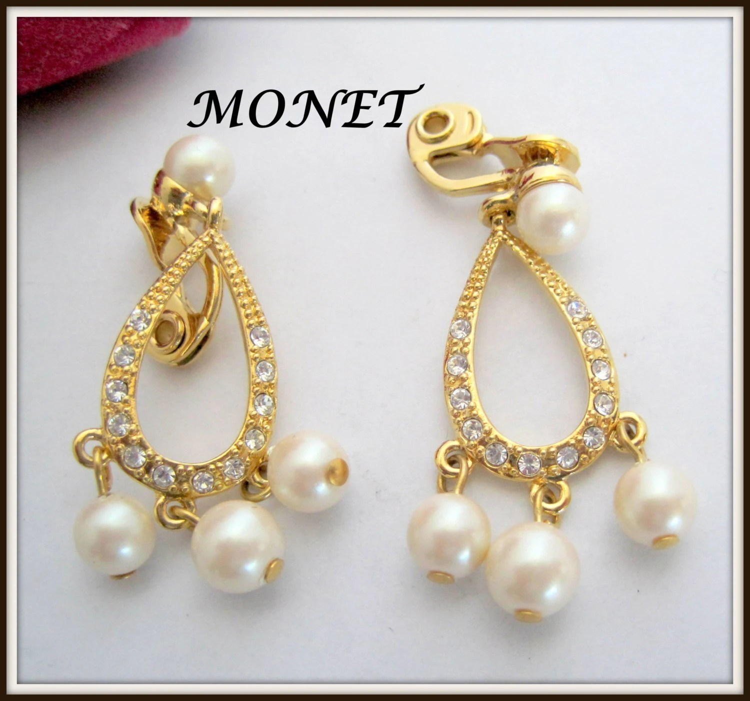 Monet Pearl Earrings Dangle Rhinestone Wedding Clip