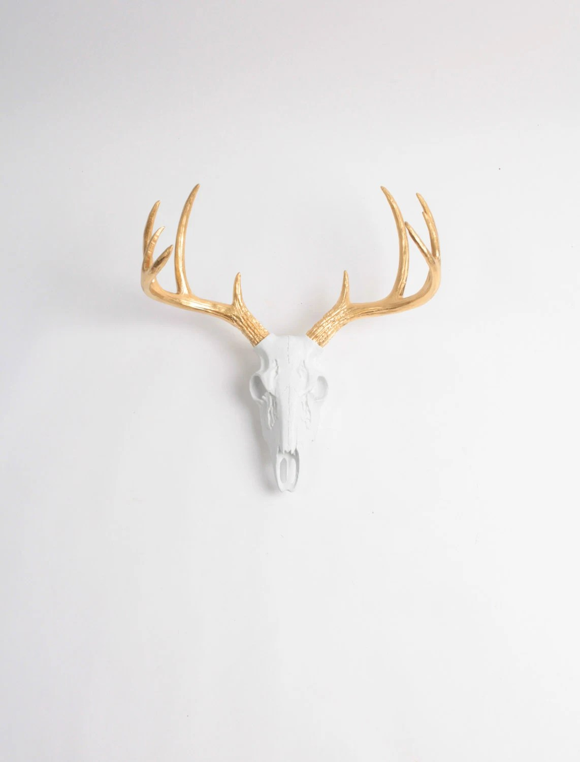 Fake Deer Skull And Antlers Mini Faux Deer Animal Skull The Deer Skull In White W Gold