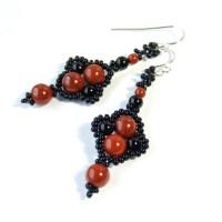 Red and Black Earrings Red Jasper Earrings Black by ...