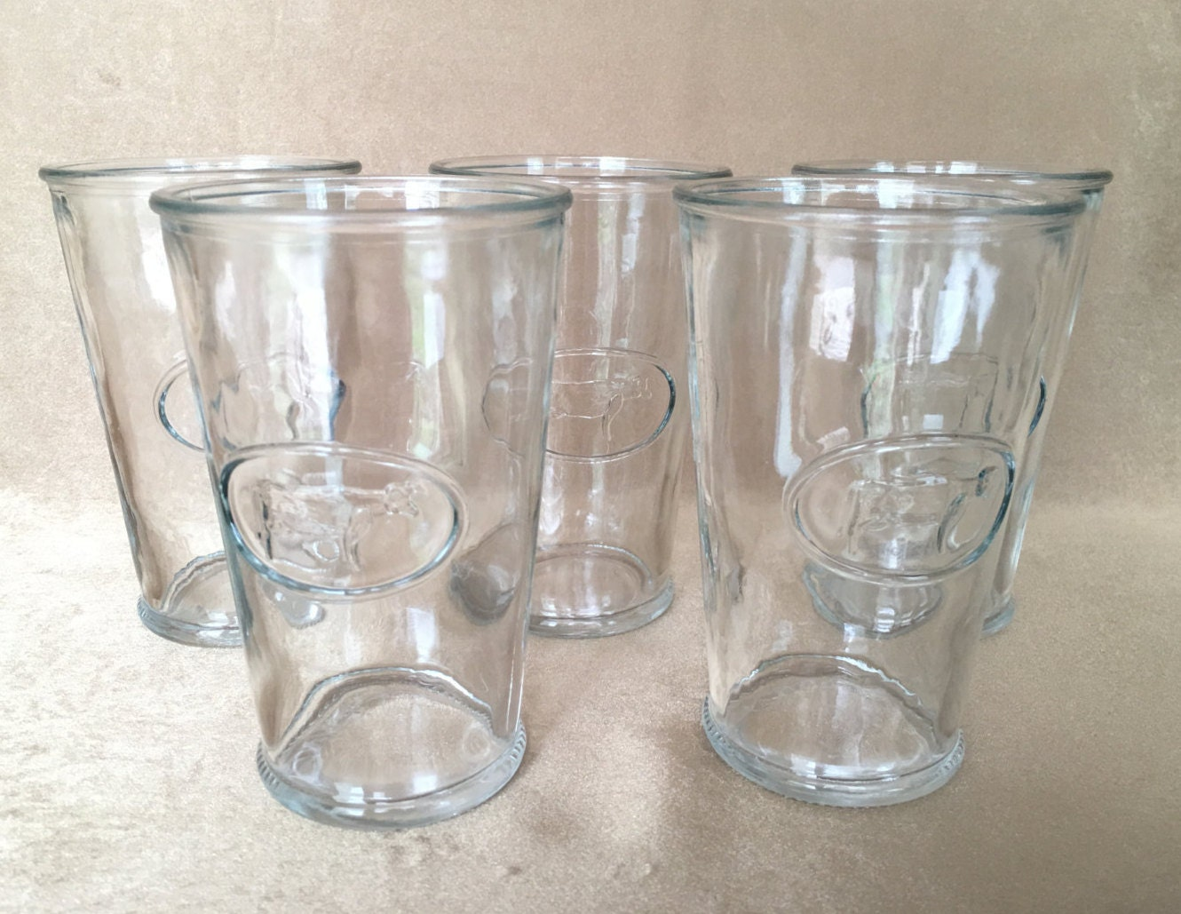 Farmhouse Drinking Glasses Cow Drinking Glasses Raised Cow Design Raised Relief Clear