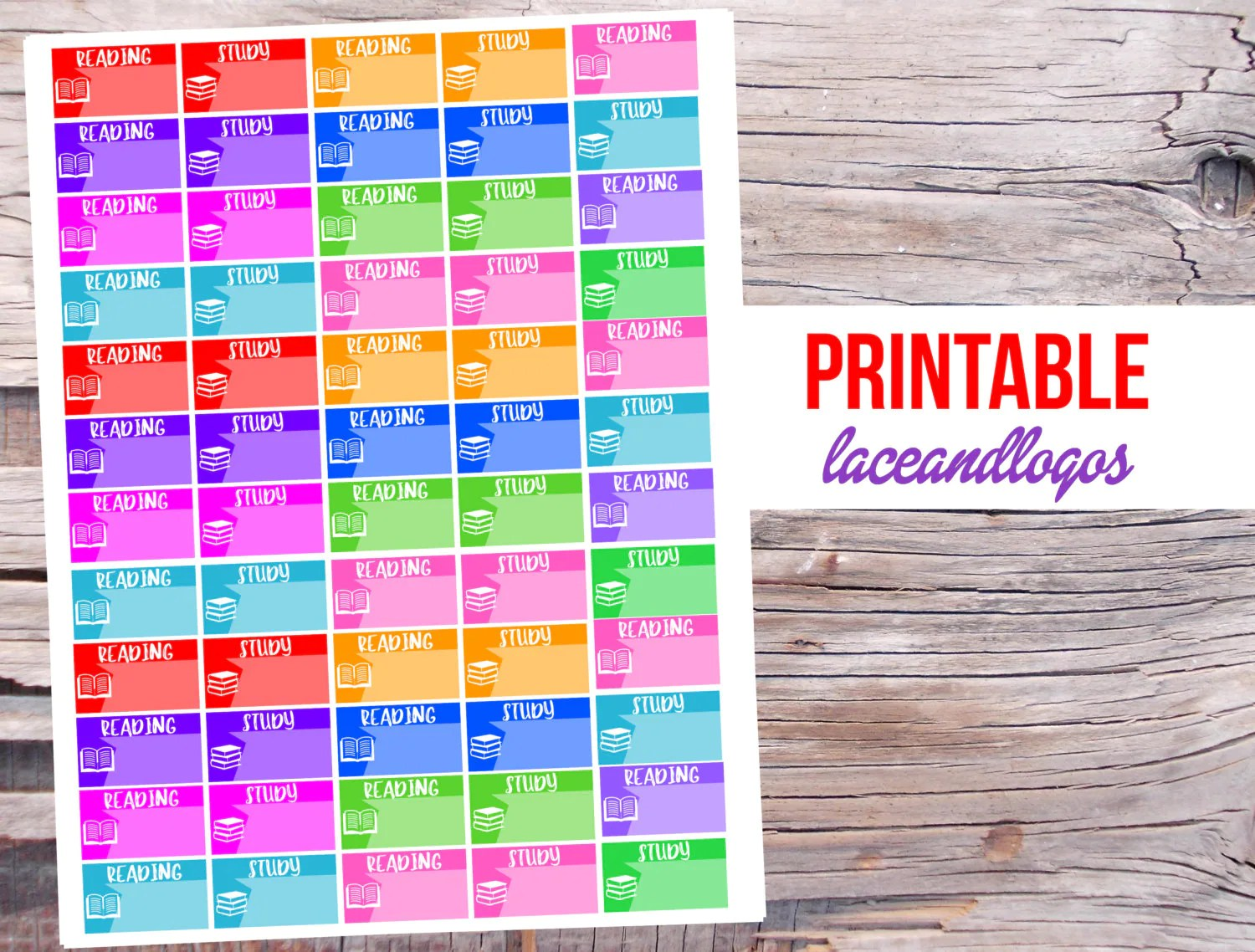 Printable Planner Stickers Student Printable Planner Stickers Reading Studying Student School