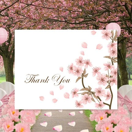 Printable Thank You Card Template Cherry Blossom Tent Style