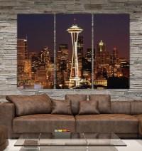 Seattle Skyline Canvas Set Large Wall art of Seattle Photo
